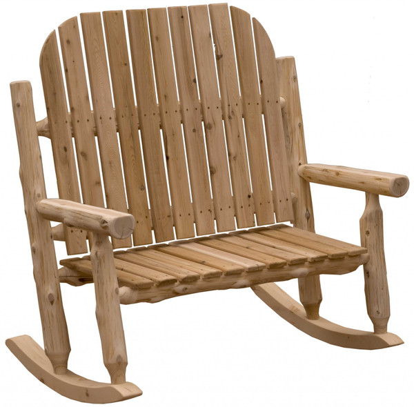 Homeroots Rustic And Natural Cedar Two-Person Adirondack Rocking Chair 376473