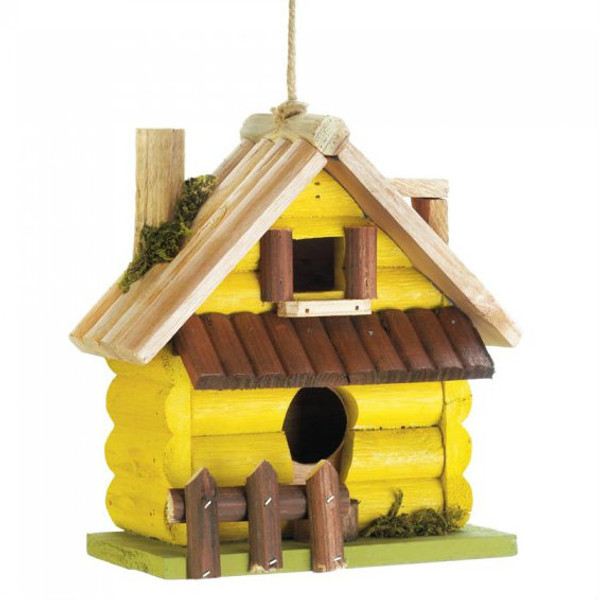 Yellow Log Cabin Wood Bird House 10018415