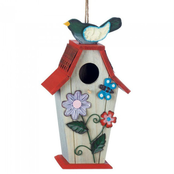 Country Flowers Wood Bird House With Butterfly 10018424