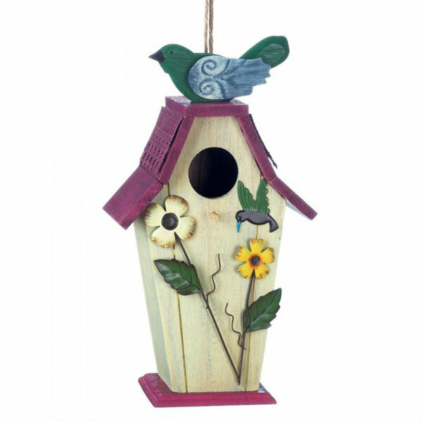 Country Flowers Wood Bird House With Hummingbird 10018425