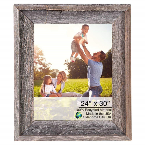 """Homeroots 27""""X33"""" Natural Weathered Grey Picture Frame With Plexiglass Holder 380365"""