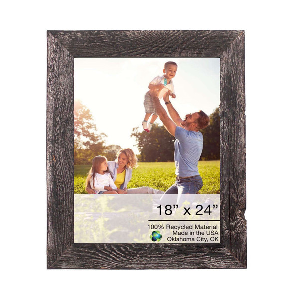 """Homeroots 20""""X26"""" Rustic Smoky Black Picture Frame With Plexiglass Holder 380366"""
