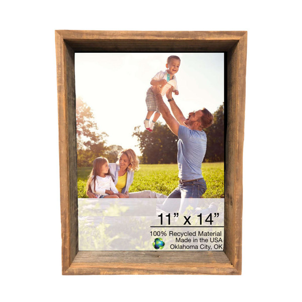 """Homeroots 12""""X16"""" Rustic Weathered Grey Box Picture Frame With Hanger 380377"""