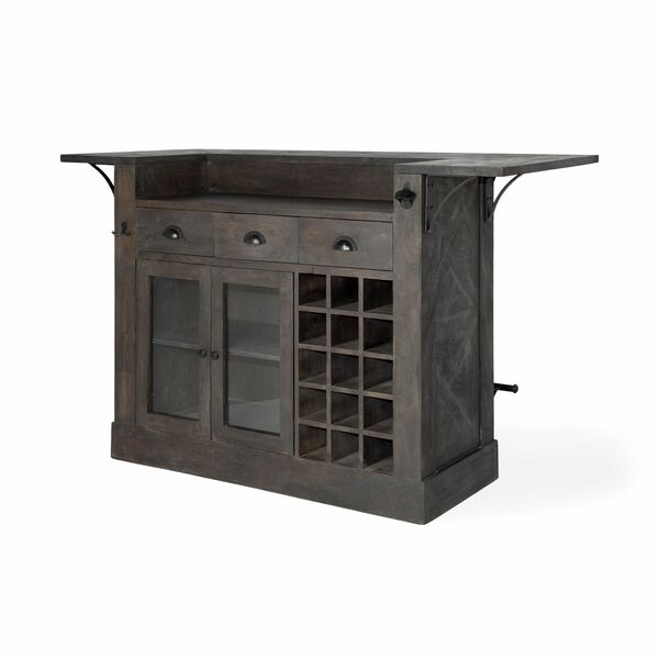 Homeroots Gray Solid Wood Kitchen Island With Wine Bottle Storage 380610