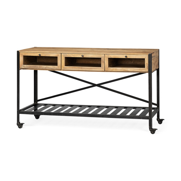 Homeroots Brown Wood Kitchen Island With Wooden Top And Slatted Metal Shelves 380612