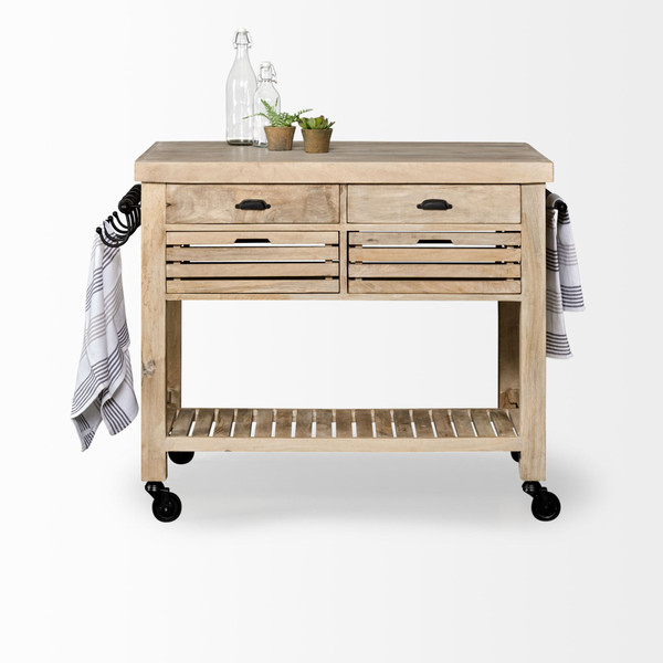 Homeroots Light Brown Base Kitchen Island With Black Iron Knobs Rolling 380613