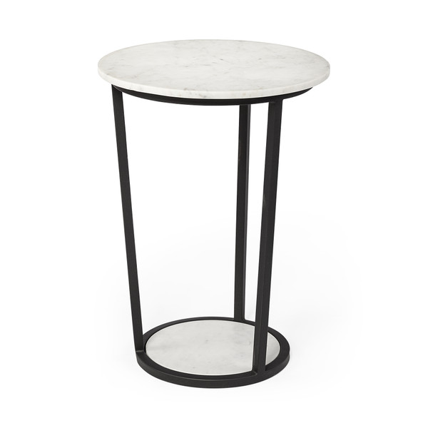"""Homeroots 18"""" Round White Marble Top Accent Table With Black Metal Frame 380684"""
