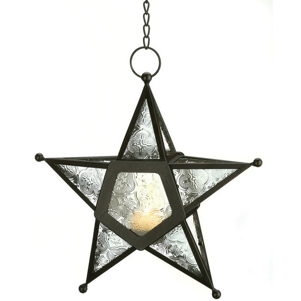 Glass Star Hanging Candle Lantern - 12287