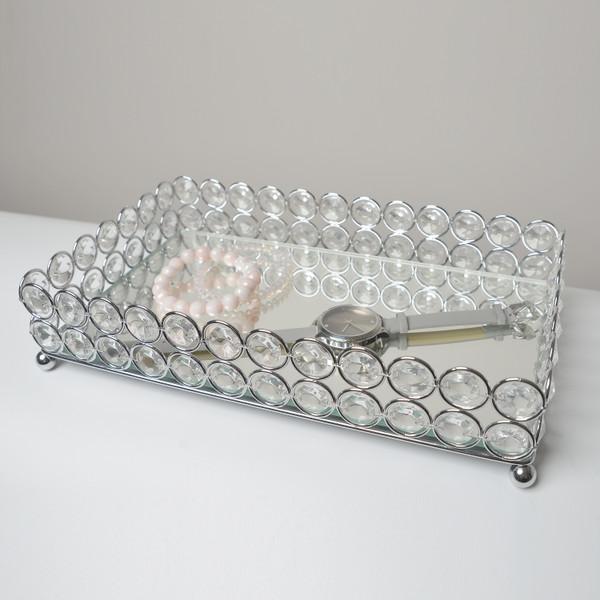 Elegant Designs Elipse Crystal Decorative Mirrored Jewelry Or Makeup Vanity Organizer Tray, Chrome HG1010-CHR