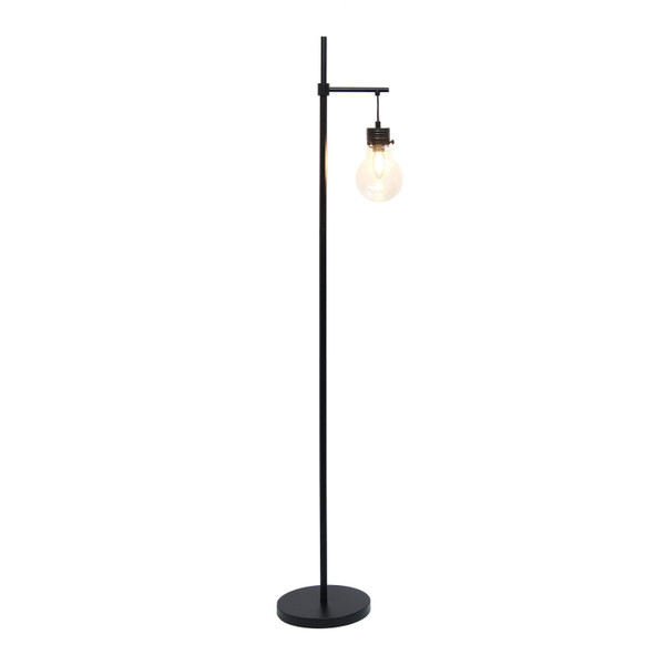 Lalia Home Black Matte 1 Light Beacon Floor Lamp With Clear Glass Shade LHF-5018-BK