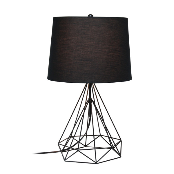 Lalia Home Geometric Black Matte Wired Table Lamp With Fabric Shade LHT-5024-BK