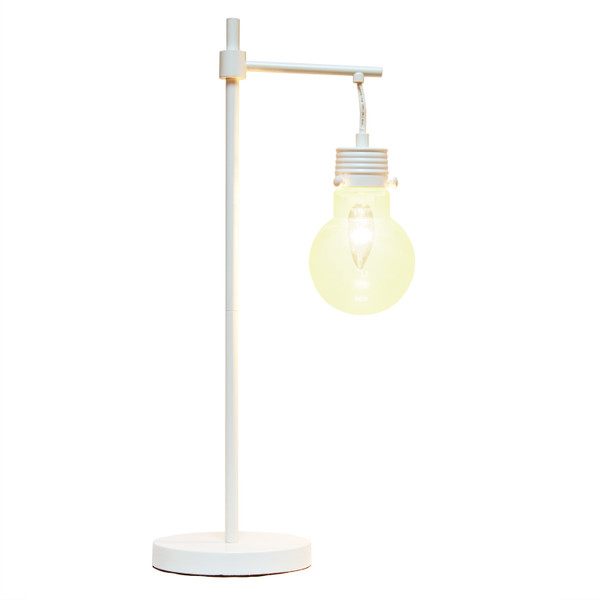 Lalia Home White Matte 1 Light Beacon Table Lamp With Clear Glass Shade LHT-5027-WH