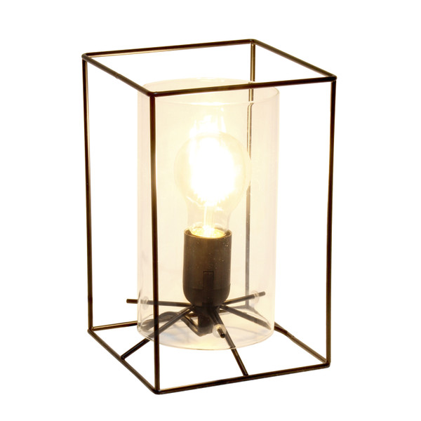 Lalia Home Black Framed Table Lamp With Clear Cylinder Glass Shade, Small LHT-5059-CL