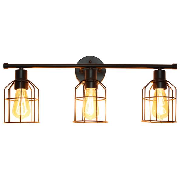 Lalia Home 3 Light Industrial Wired Vanity Light, Matte Black LHV-1000-BK