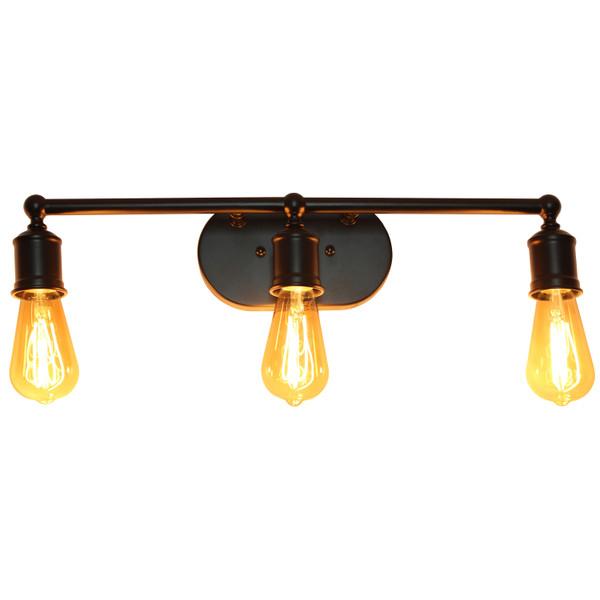 Lalia Home 3 Light Industrial Metal Vanity Light, Matte Black LHV-1001-BK