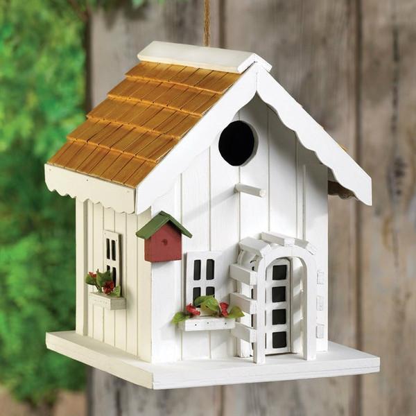Cottage Bird House With Trellis Front Door - 15112