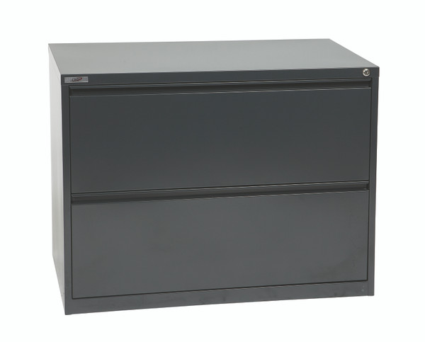 """Office Star 36"""" Wide 2 Drawer Lateral File With Core-Removeable Lock & Adjustable Glides - Charcoal LF236-C"""