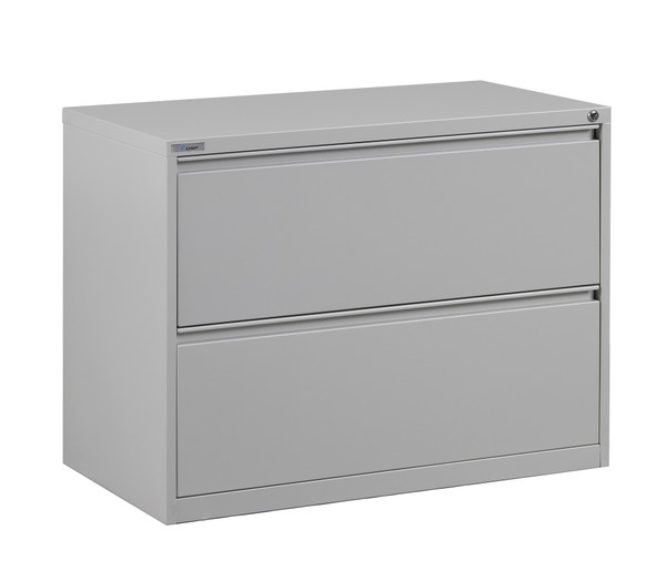 """Office Star 36"""" Wide 2 Drawer Lateral File With Core-Removeable Lock & Adjustable Glides - Light Grey LF236-G"""