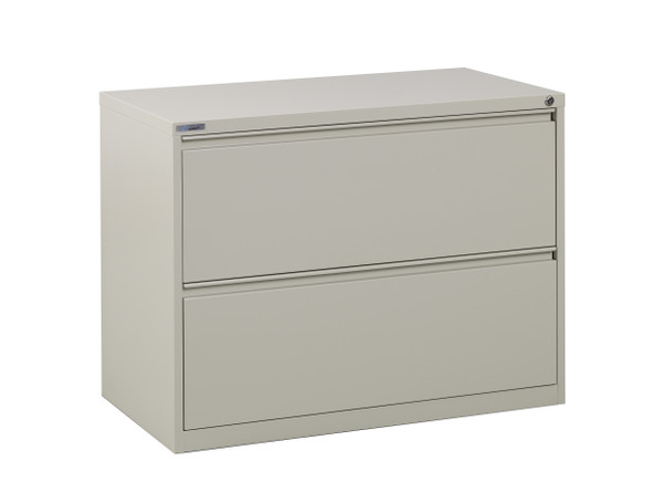 "Office Star 36"" Wide 2 Drawer Lateral File With Core-Removeable Lock & Adjustable Glides - Putty LF236-P"
