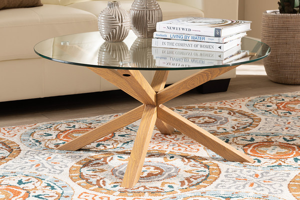 Baxton Studio Lida Modern And Contemporary Glass And Wood Finished Coffee Table Panama-Clear/Natural-CT