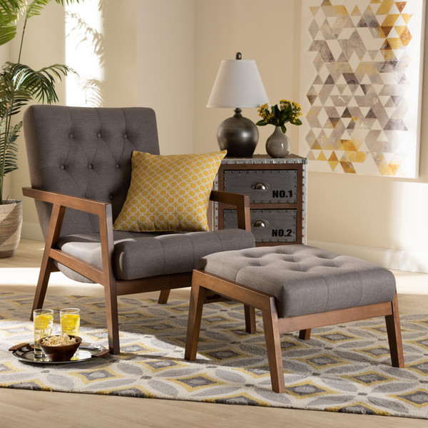 Baxton Studio Naeva Mid-Century Modern Grey Fabric Upholstered Walnut Finished Wood 2-Piece Armchair And Footstool Set BBT8040-Grey/Walnut-2PC Set