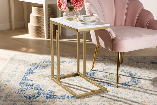 Baxton Studio Renzo Modern And Contemporary Brushed Gold Finished Metal End Table With Faux Marble Tabletop AA-1822-Marble/Gold-ET