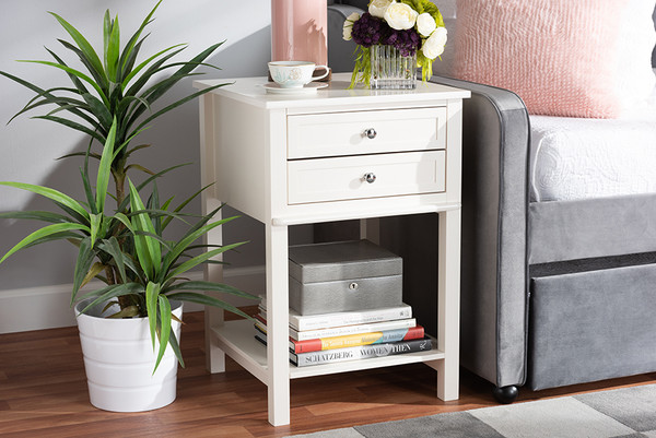 Baxton Studio Willow Modern Transitional White Finished 2-Drawer Wood Nightstand SR1801426-White-NS