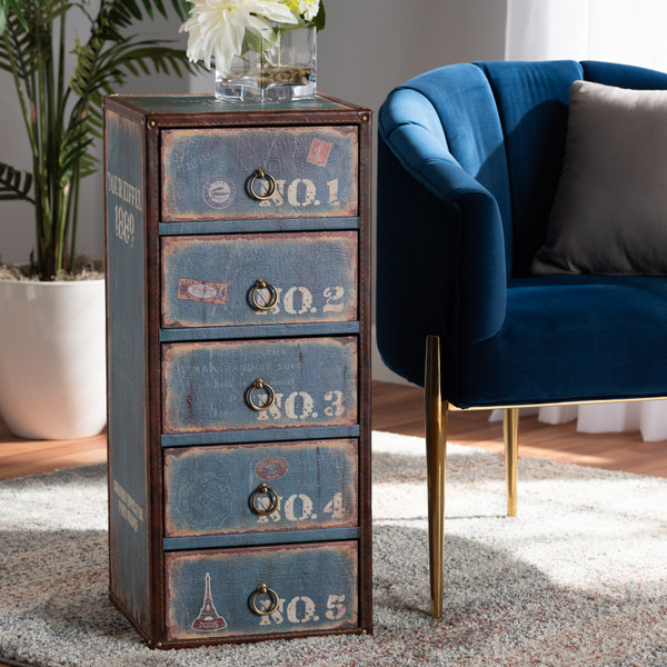 Baxton Studio Alba Vintage Rustic French Inspired Blue Finished Wood 5-Drawer Accent Storage Chest SJ14502-Blue-5DW-Chest