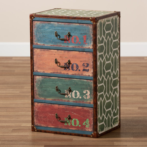 Baxton Studio Amandine Vintage Rustic French Inspired Multicolor Finished Wood 4-Drawer Accent Storage Cabinet SJ14512-Multi-4DW-Cabinet