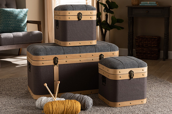 Baxton Studio Clarence Modern And Contemporary Transitional Dark Grey And Dark Brown Fabric Upholstered Oak Brown Finished 3-Piece Storage Ottoman Trunk Set R87R521-3PC Trunk Set