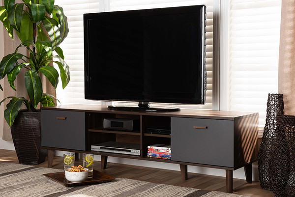 Baxton Studio Moina Mid-Century Modern Two-Tone Walnut Brown And Grey Finished Wood Tv Stand SE TV90810WI-Columbia/Dark Grey-TV Stand