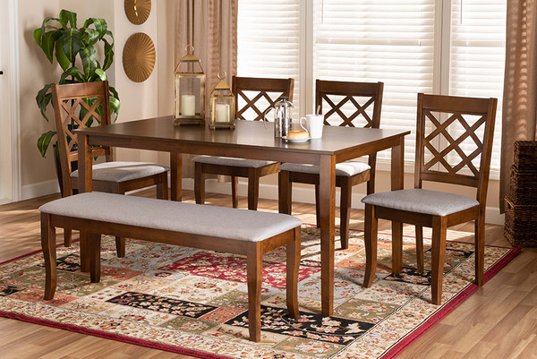 Baxton Studio Andor Modern And Contemporary Grey Fabric Upholstered And Walnut Brown Finished Wood 6-Piece Dining Set RH330C-Grey/Walnut-6PC Dining Set