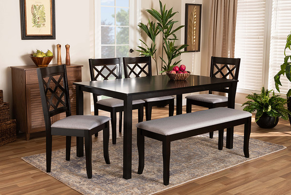 Baxton Studio Andor Modern And Contemporary Grey Fabric Upholstered And Dark Brown Finished Wood 6-Piece Dining Set RH330C-Grey/Dark Brown-6PC Dining Set