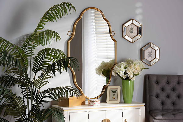 Baxton Studio Dennis Vintage Antique Gold Finished Accent Wall Mirror RXW-8059