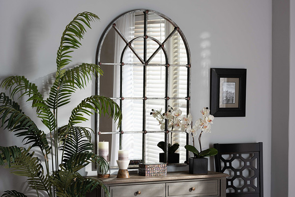 Baxton Studio Newman Vintage Farmhouse Antique Silver Finished Arched Window Accent Wall Mirror RTB1358-2