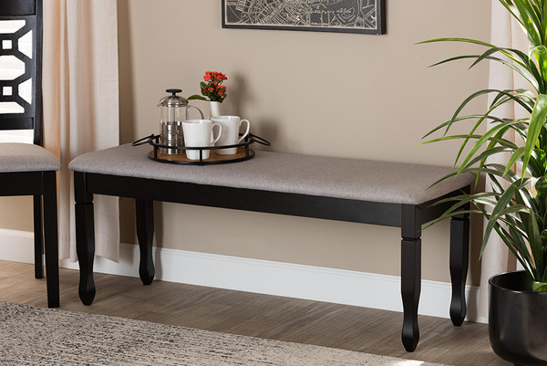 Baxton Studio Corey Modern And Contemporary Grey Fabric Upholstered And Dark Brown Finished Wood Dining Bench RH039-Grey/Dark Brown-Dining Bench