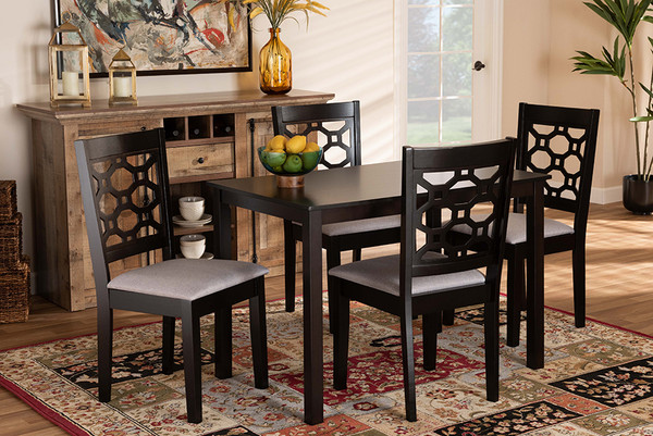 Baxton Studio Henry Modern And Contemporary Grey Fabric Upholstered And Dark Brown Finished Wood 5-Piece Dining Set RH335C-Grey/Dark Brown-5PC Dining Set