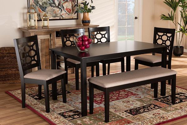 Baxton Studio Gabriel Modern And Contemporary Sand Fabric Upholstered And Dark Brown Finished Wood 6-Piece Dining Set RH335C-Sand/Dark Brown-6PC Dining Set