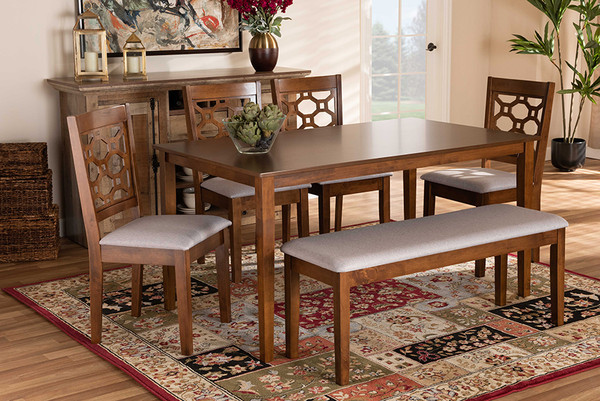 Baxton Studio Gabriel Modern And Contemporary Grey Fabric Upholstered And Walnut Brown Finished Wood 6-Piece Dining Set RH335C-Grey/Walnut-6PC Dining Set