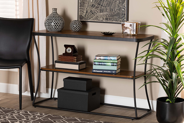 Baxton Studio Akram Rustic Industrial Walnut Brown Finished Wood And Black Finished Metal Console Table YLX-2780-Console