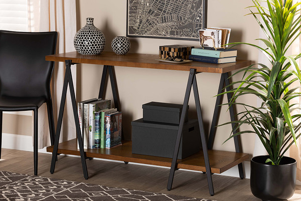 Baxton Studio Britton Rustic Industrial Walnut Finished Wood And Black Finished Metal Console Table YLX-2781-Console