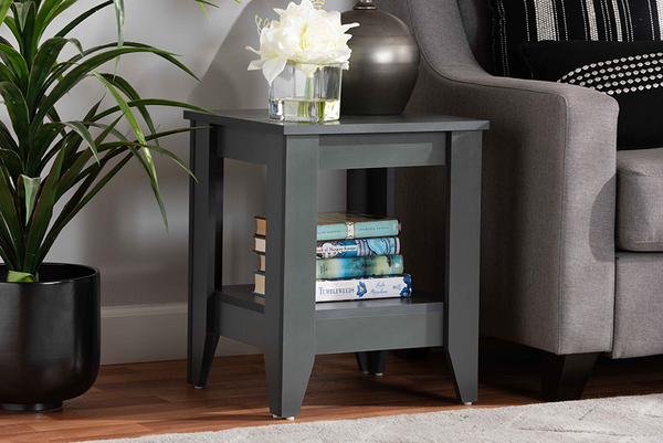 Baxton Studio Audra Modern And Contemporary Grey Finished Wood Living Room End Table ET8000-Grey-ET