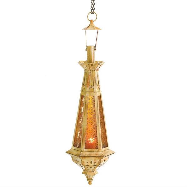 Golden Pendant Antique-Finish Candle Lantern - 38373