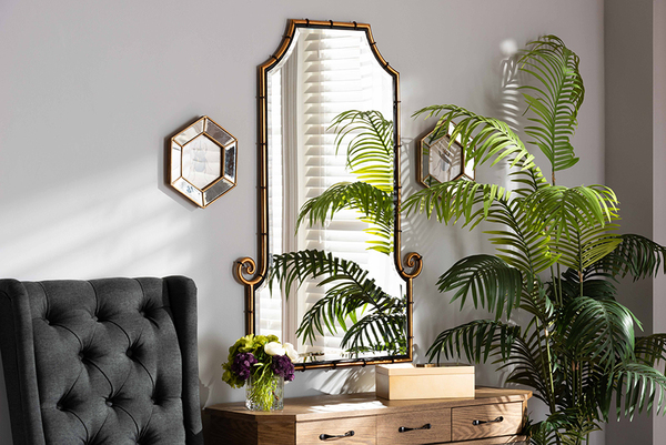 Baxton Studio Layan Glamourous Hollywood Regency Style Gold Finished Metal Bamboo Inspired Accent Wall Mirror RXW-10065