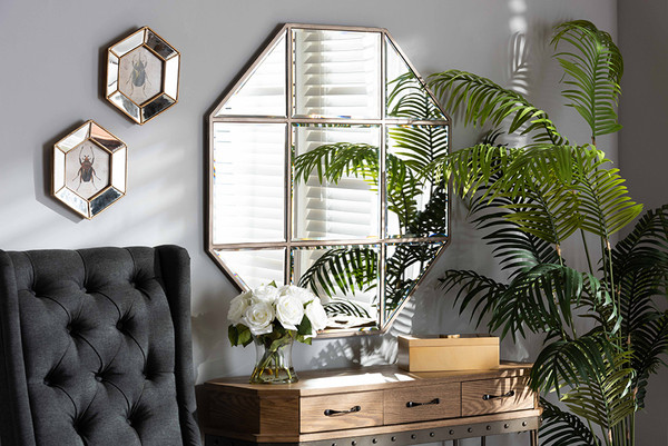 Baxton Studio Enora Modern And Contemporary Antique Bronze Finished Metal Geometric Accent Wall Mirror RXW-10082