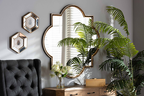Baxton Studio Tiana Vintage Antique Bronze And Gold Finished Metal Quatrefoil Accent Wall Mirror RXW-10101