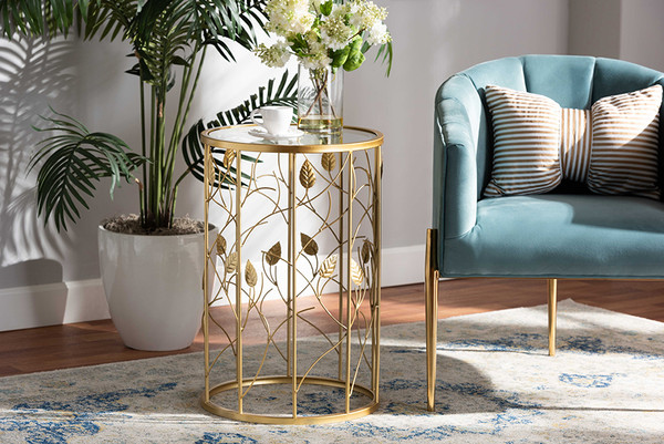 Baxton Studio Anaya Modern And Contemporary Glam Brushed Gold Finished Metal And Glass Leaf Accent End Table JY20A251-Gold-ET