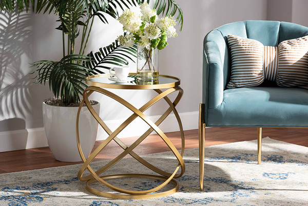 Baxton Studio Desma Glam And Luxe Gold Finished Metal And Mirrored Glass End Table JY20A260-Gold-ET