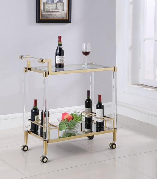 Contemporary Brass Finish & Acrylic Tea Cart DENALI-TC