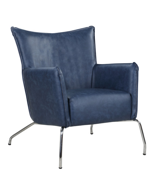 Accent Chair With Steel Frame - Polished Ss 2008-ACC-BLU